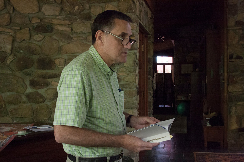 Richard Straw, writer of haiku and haibun, reads a poem from the anthology.