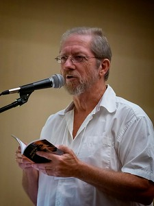 Jim Kacian, reading from a recent book of haiku from Red Moon Press.
