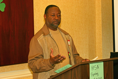 """Lenard makes some announcements during the """"HSA business"""" part of the meeting."""