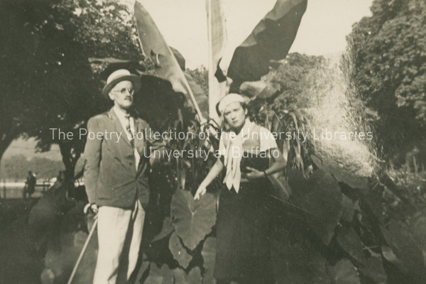 James Joyce with Lucia in the garden at Lake Constance