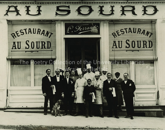 Proprietor and staff of Restaurant Au Sourd in Toulon France (Photo sent to Sylvia Beach at Joyce's request)