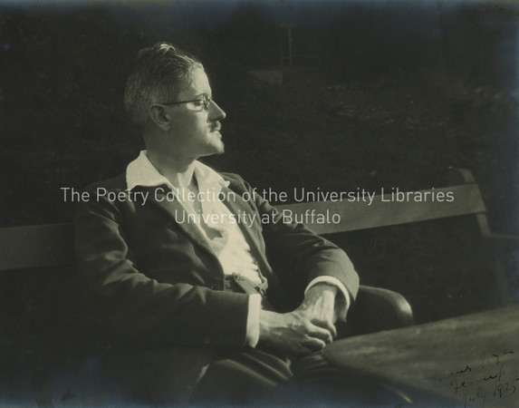 James Joyce seated on bench at Fechamp