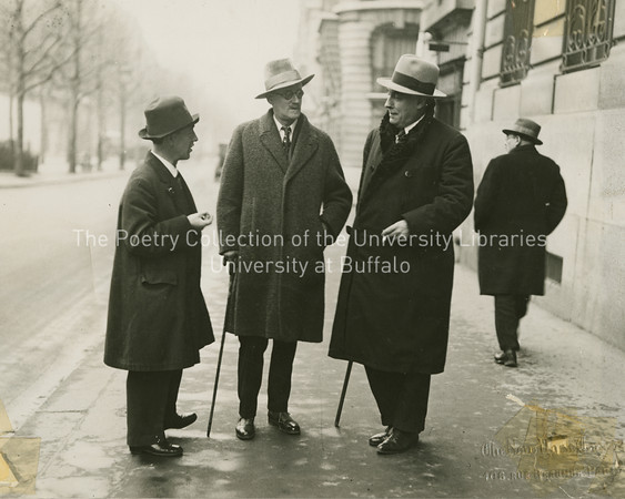 James Joyce, James Stephens and John Sullivan talking on Rue Raspail, Paris