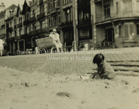 Nora Joyce seated on bench at Ostend