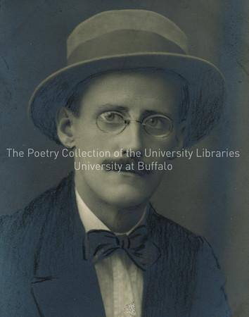 James Joyce with moustache, close up