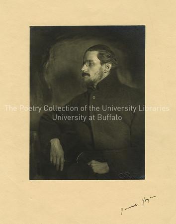James Joyce, bearded, seated in profile, Zurich