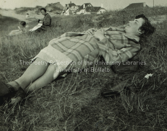 Lucia Joyce lying on grass, Ostend