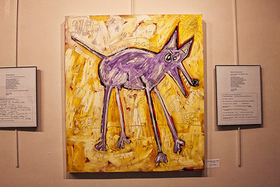 Purple Dog Goes for a Walk, acrylic painting by Larry D. Dean.