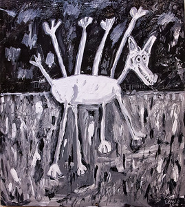 Octodog Goes for a Short Walk, acrylic painting by Larry D. Dean.