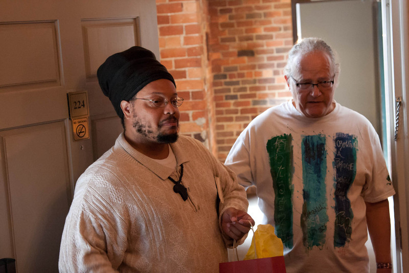 Ismael Khatibu and Bob Moyer look in on our first event on Saturday morning.
