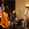 The Matt Kendrick Trio warming up for the jazz poetry reading on Saturday night.