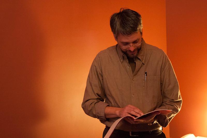 Book artist Josh Hockensmith reads haiku from stitching speechless, his collaboration with Stephen Addiss (Blue Bluer Books, North Carolina: 2011).