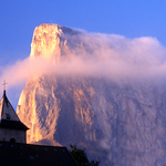 SAILING THE TECTONIC SEAS by David Cale  The mountain rears magnificent a titanic ship's prow cuts through countless dawns sun warmed, storm wracked mute testimony to  tectonic brooding of the planet below our feet  I am tempted to feel small  But a mountain is just a mountain not a comment on me  © David Cale  Mont Aguille 58 km south of Grenoble France.