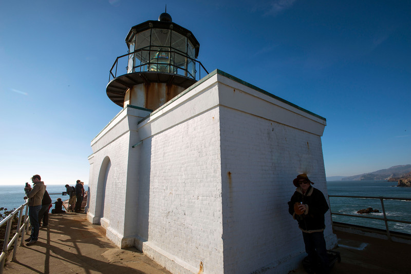 Historical Information from USCG web site:<br /> Point Bonita Light Station had the first fog signal on the West Coast. It was an Army surplus 24-pounder siege gun.<br /> This light is the only one in America that can be reached only by crossing a suspension bridge.<br /> In 1877 the lighthouse was moved to its current location because the original location was often too obscured by fog for the light to be visible from the bay. This location required the builders to overcome many challenges, including the need for a hand carved, 118-foot (36 m) long hard rock tunnel.