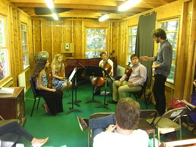 Sarah, Olivia, Ian & Henry receiving masterclass teaching from Alan