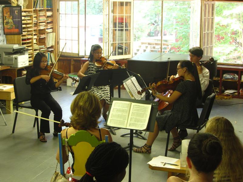 (left to right) Miranda, Telden, Emma & Matt playing Grieg String Quartet