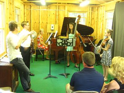 (left to right) Spencer, Olivia, Caroline & Rebecca receiving masterclass teaching from Nick & Greg