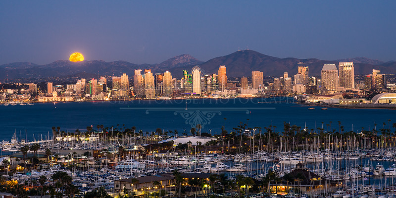 Full Moon Rising Over the San Diego Skyline