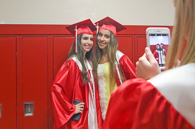 Nicole Biase and Breana Santos having the picture taken by Oliva Frizzell. The 2019 Graduation Ceremony for Point Pleasant Beach High School in Point Pleasant Beach, NJ on 6/20/19. [DANIELLA HEMINGHAUS | THE OCEAN STAR]