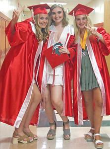 [L-R]: Brigid Regan, Taylor Struncius, McKayla Hughes. The 2019 Graduation Ceremony for Point Pleasant Beach High School in Point Pleasant Beach, NJ on 6/20/19. [DANIELLA HEMINGHAUS | THE OCEAN STAR]