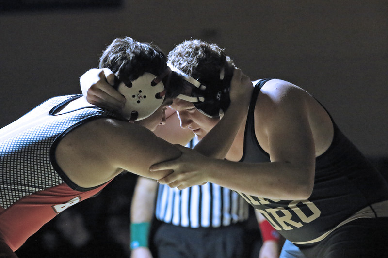 Josh Henderson from Point Pleasant bore battles with Noah Ramos from Point Pleasant Beach during their 220 lb bout during a varsity wrestling match held on Friday Jan. 18, 2019. (MARK R. SULLIVAN/THE OCEAN STAR)