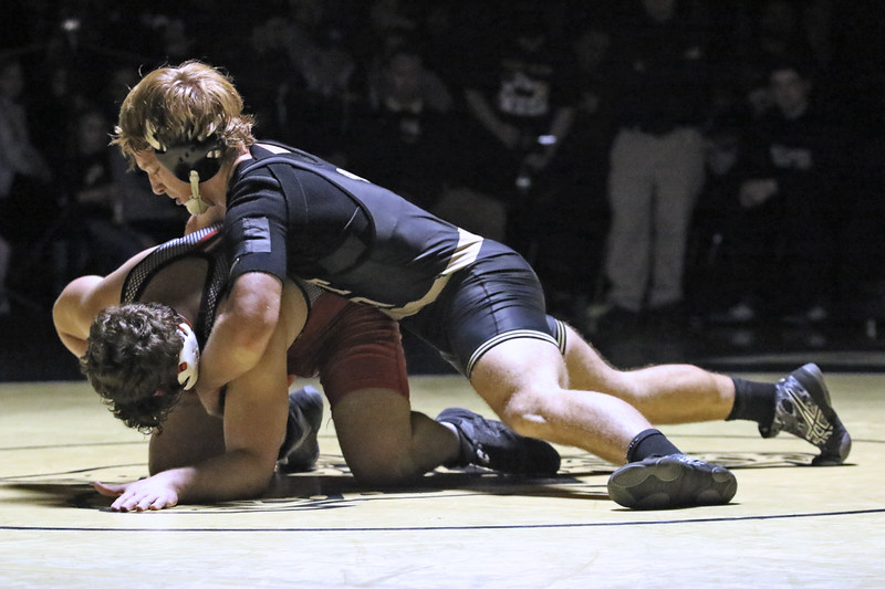 Scott Franceschini form Point Pleasant Boro battles with Liam Buday during their 195 lb bout during a varsity wrestling match held on Friday Jan. 18, 2019. (MARK R. SULLIVAN/THE OCEAN STAR)