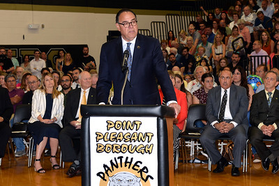 Point Pleasant Borough Superintendent of Schools, Vincent Smith speaking at the 2019 High School Graduation Commencement Exercizes, held at the Point Pleasant Borough Memorial Middle School Gymnasium, in Point Pleasant Borough, NJ on 06/20/2019. (STEVE WEXLER/THE OCEAN STAR).