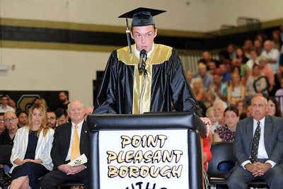 Point Pleasasnt Borough High School 2019 Valedictorian Devin Roger Hart addresses his graduating class and assembled guests at Commencement Exercizes held at the Point Pleasant Borough Memorial School Gymnasium, Point Pleasant Borough, NJ on 06/20/2019. (STEVE WEXLER/THE OCEAN STAR).