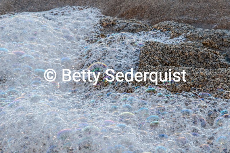 Multi-Colored Bubbles and Surf, McClure Beach, Point Reyes