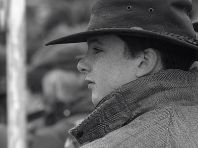 Spectator at parade ring, West Lockinge point-to-point