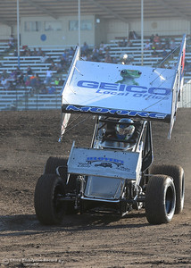 Mason Moore exits the track after hot laps as drivers compete Friday, June 30, 2017, at the Silver Dollar Speedway in Points Race No. 8 in Chico, California. (Dan Reidel -- Enterprise-Record)