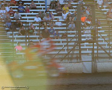 Sean Becker takes the checkered flag as drivers compete Friday, June 30, 2017, at the Silver Dollar Speedway in Points Race No. 8 in Chico, California. (Dan Reidel -- Enterprise-Record)