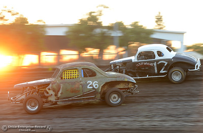 Jason Armstrong (26) and Ron Ruiz (10) come into turn No. 4 during the Vintage Hardtop race Friday, June 30, 2017, at the Silver Dollar Speedway in Points Race No. 8 in Chico, California. Armstrong took the checkered flag with Ruiz taking second place in the race. (Dan Reidel -- Enterprise-Record)