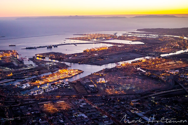Sunset at Port of Los Angeles and Port of Long Beach