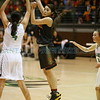 Pojoaque's Michaela Martinez, number 4, covers Española's Kaylee Chavez, number 30, during the second quarter of the Pojoaque High School vs Española Valley High School at Pojoaque on Friday, March 8, 2019. Luis Sánchez Saturno/The New Mexican