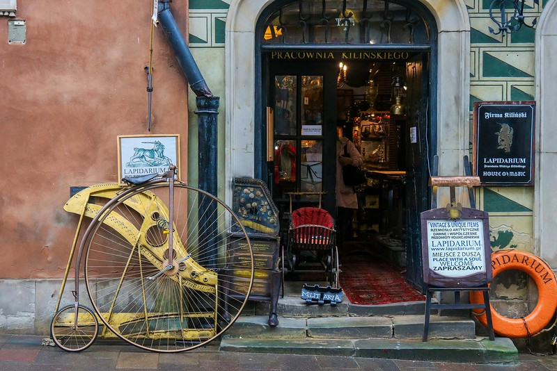 Antique shop in old Warsaw, Poland
