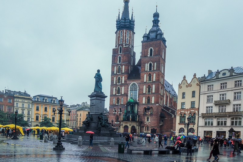 Tall building in center is St. Mary's Basilica, Krakow, Poland.