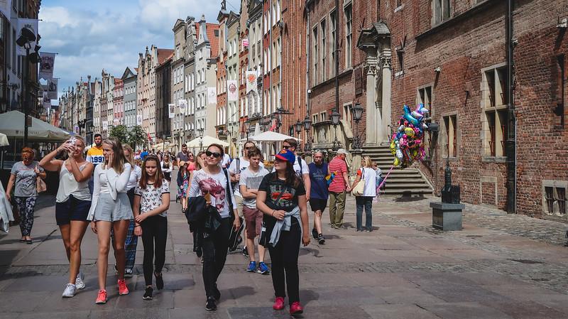 Walking along Długa Street in Gdansk