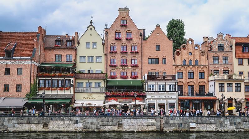 Hanseatic buildings along the waterfront in Gdansk