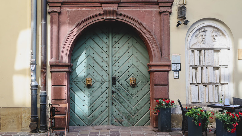 Giant doors and architectural details in Krakow