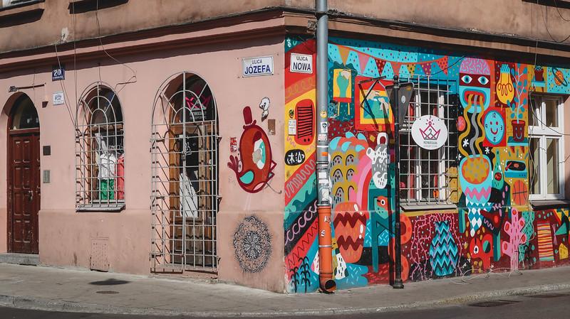 Colourful street art in Kazimierz, Krakow's Old Jewish Quarter