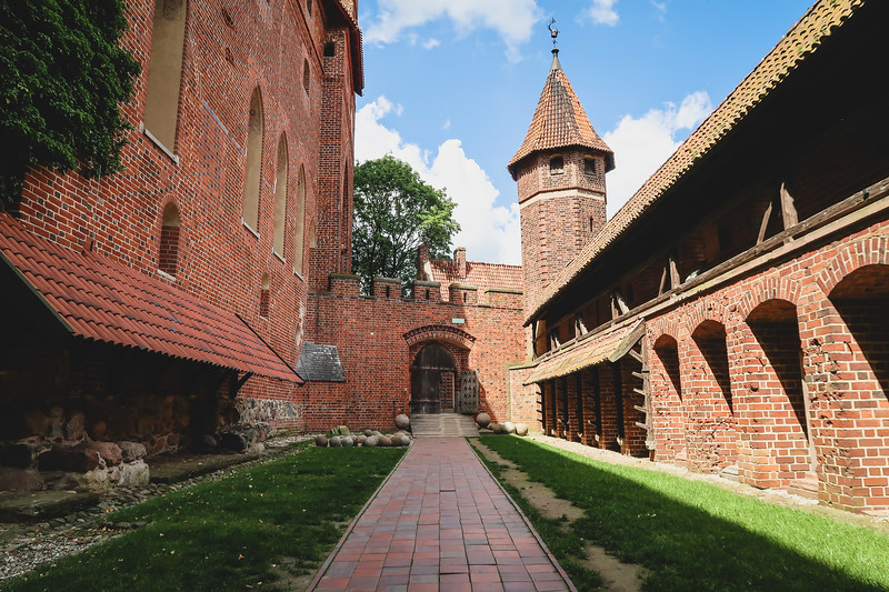 Red brick architecture of Malbork Castle in Poland