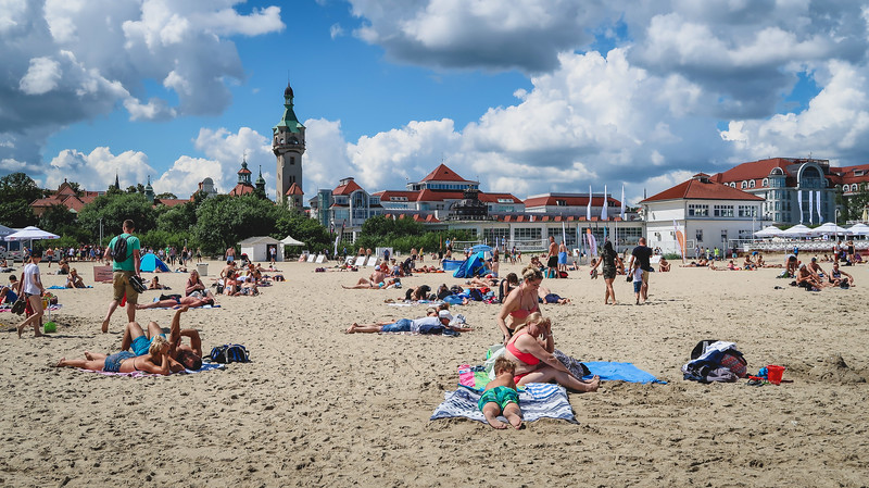 The beach in Sopot was full of sunbathers but not so many swimmers in the Baltic Sea.