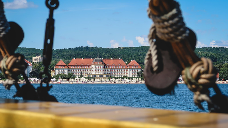 Views of the town from the harbour cruise in Sopot.