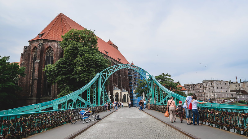 Crossing the bridge to Cathedral Island in Wroclaw.