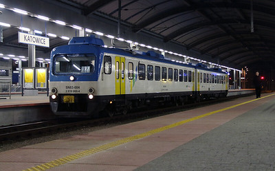 1) STP, SN83 004 (95 51 2810 060-4 PL-STP )at Katowice on 17th February 2014. Ex NS DMU.