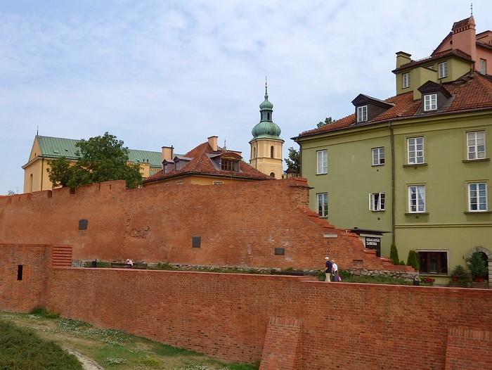 Warsaw Barbican wall in Warsaw, Poland - barbakan warszawski)