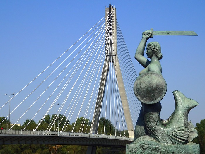 Mermaid of Warsaw, a symbol of the city of Warsaw, Poland - Syrenka Warszawska