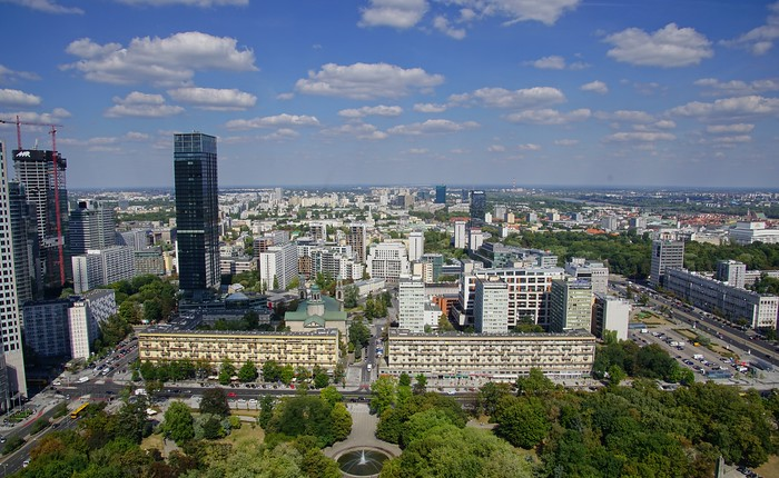 View of Warasw from high atop the Palace of Culture and Science in Poland