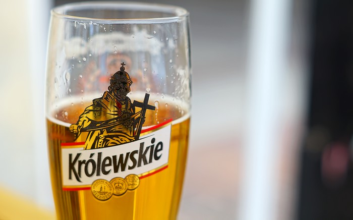 A glass of Polish beer at a bar in Warsaw, Poland